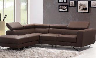 кожаный диван коричневый цвета