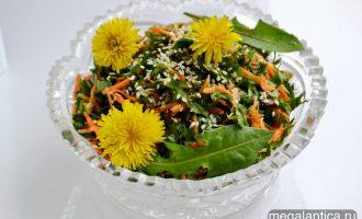 салат из одуванчиков с морковью